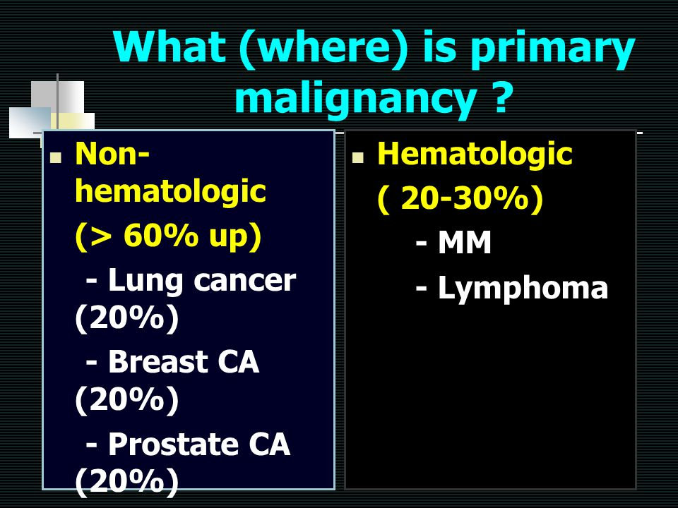 What (where) is primary malignancy ? Non- hematologic (> 60% up) - Lung cancer (20%) - Breast CA (20%) - Prostate CA (20%) - Unknown (10%) - RCC (5%)