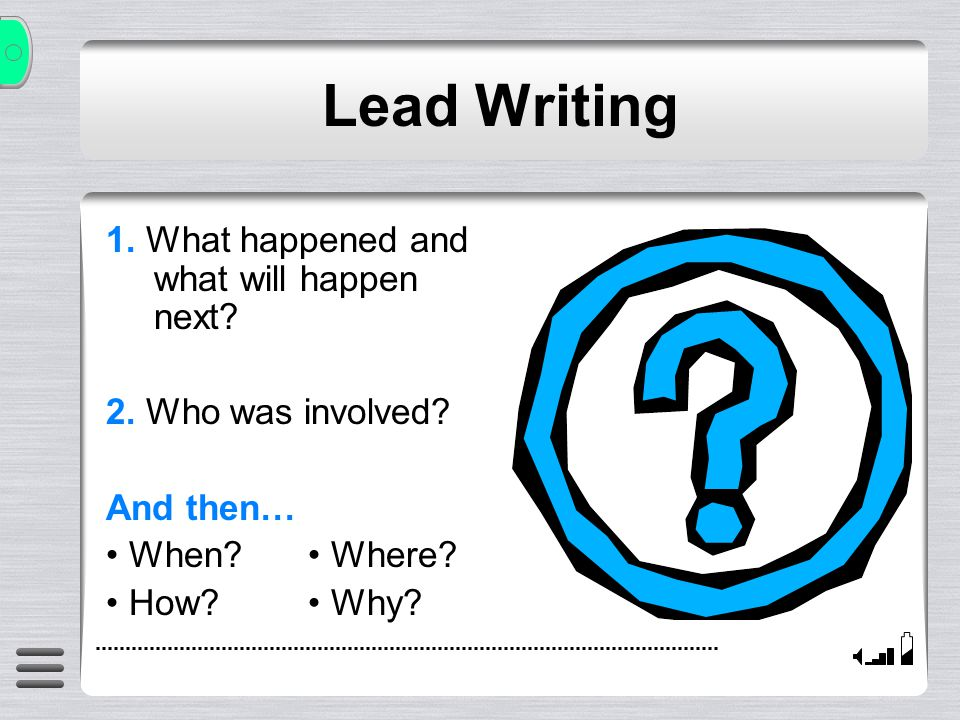 Lead Writing Too Many Choices.