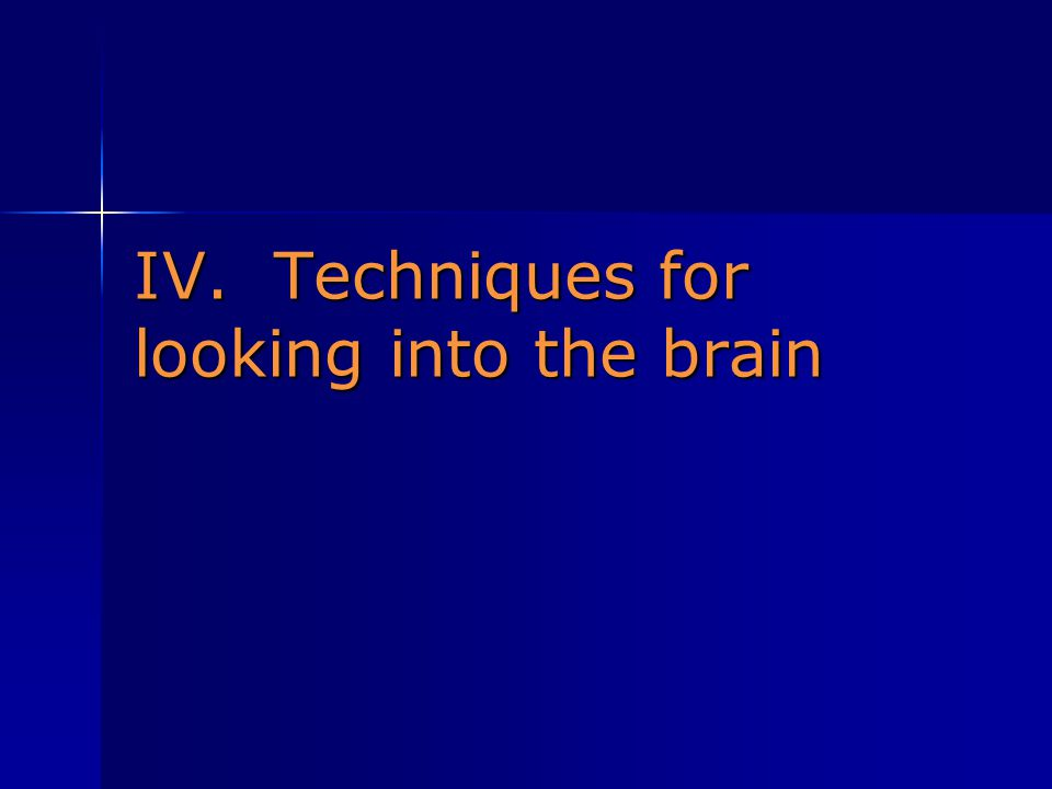 IV. Techniques for looking into the brain