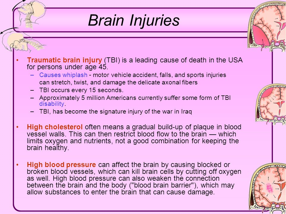 Click to edit Master text styles Second level Third level Fourth level Fifth level Brain Injuries Traumatic brain injury (TBI) is a leading cause of d