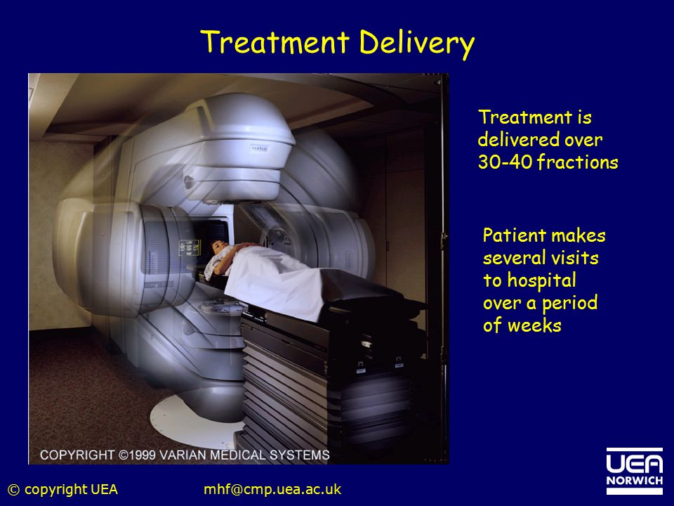 © copyright UEAmhf@cmp.uea.ac.uk Treatment Delivery Treatment is delivered over 30-40 fractions Patient makes several visits to hospital over a period
