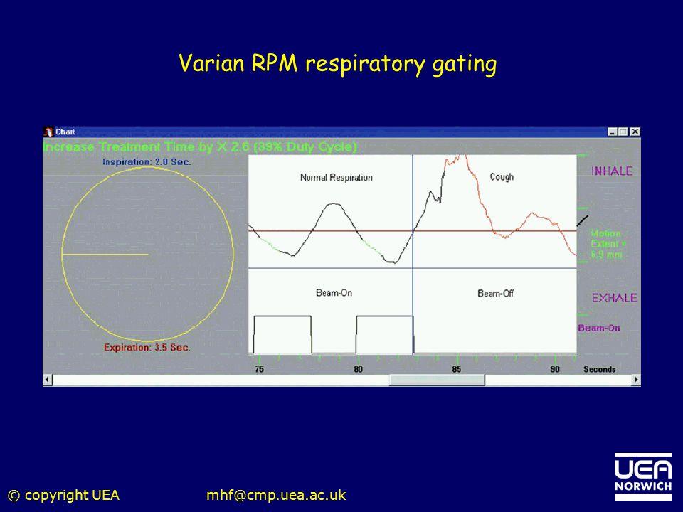 © copyright UEAmhf@cmp.uea.ac.uk Varian RPM respiratory gating