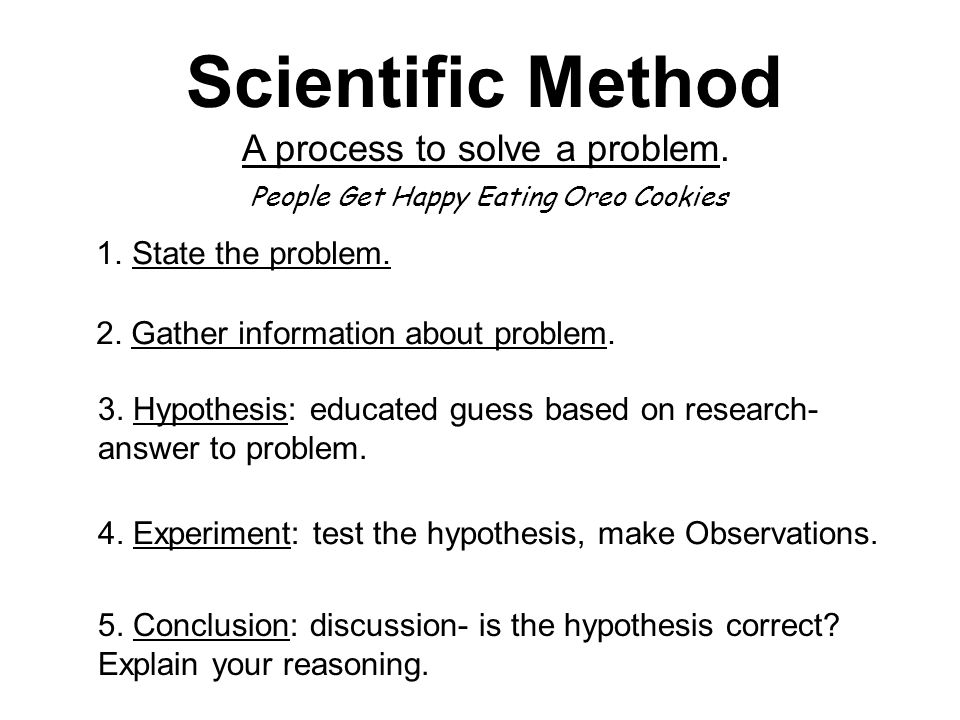 Scientific Method A process to solve a problem. 1.State the problem.