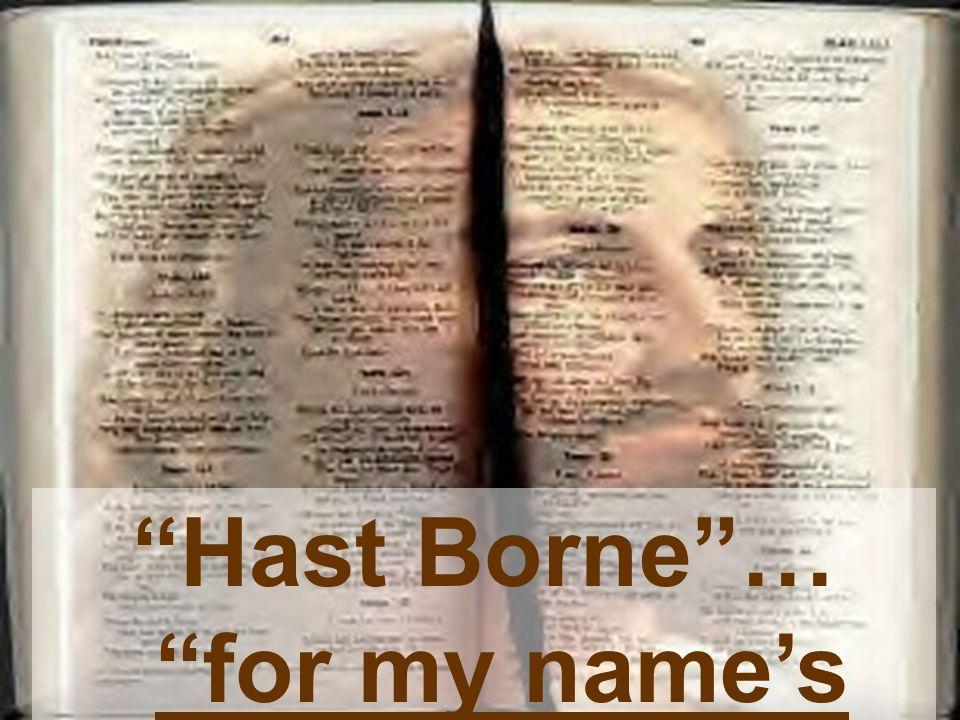 Hast Borne … for my name's sake