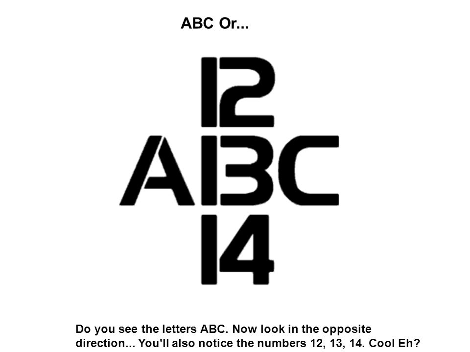 ABC Or... Do you see the letters ABC. Now look in the opposite direction... You'll also notice the numbers 12, 13, 14. Cool Eh?
