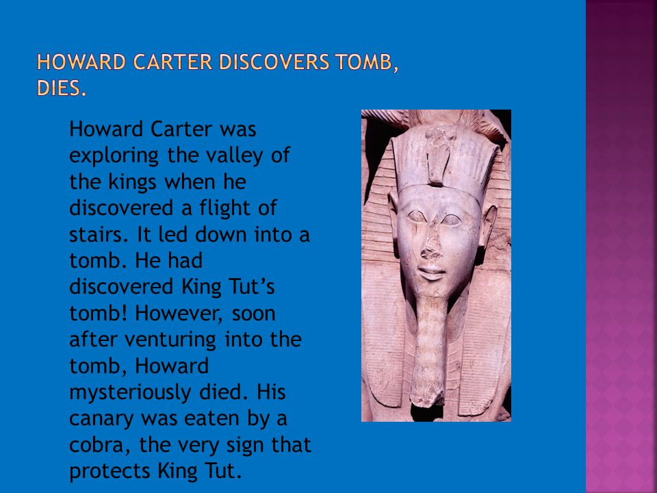 Howard Carter was exploring the valley of the kings when he discovered a flight of stairs. It led down into a tomb. He had discovered King Tut's tomb!
