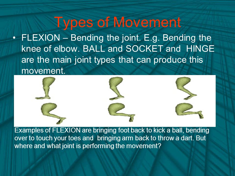 Types of Movement FLEXION – Bending the joint.E.g.