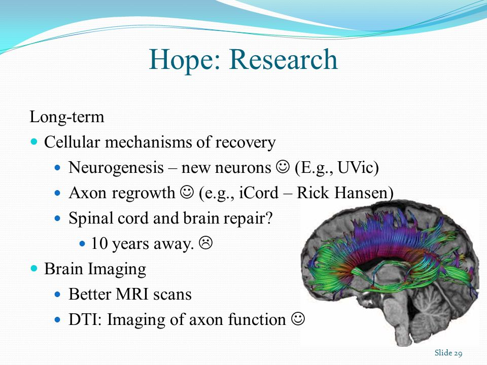 Hope: Research Long-term Cellular mechanisms of recovery Neurogenesis – new neurons (E.g., UVic) Axon regrowth (e.g., iCord – Rick Hansen) Spinal cord and brain repair.