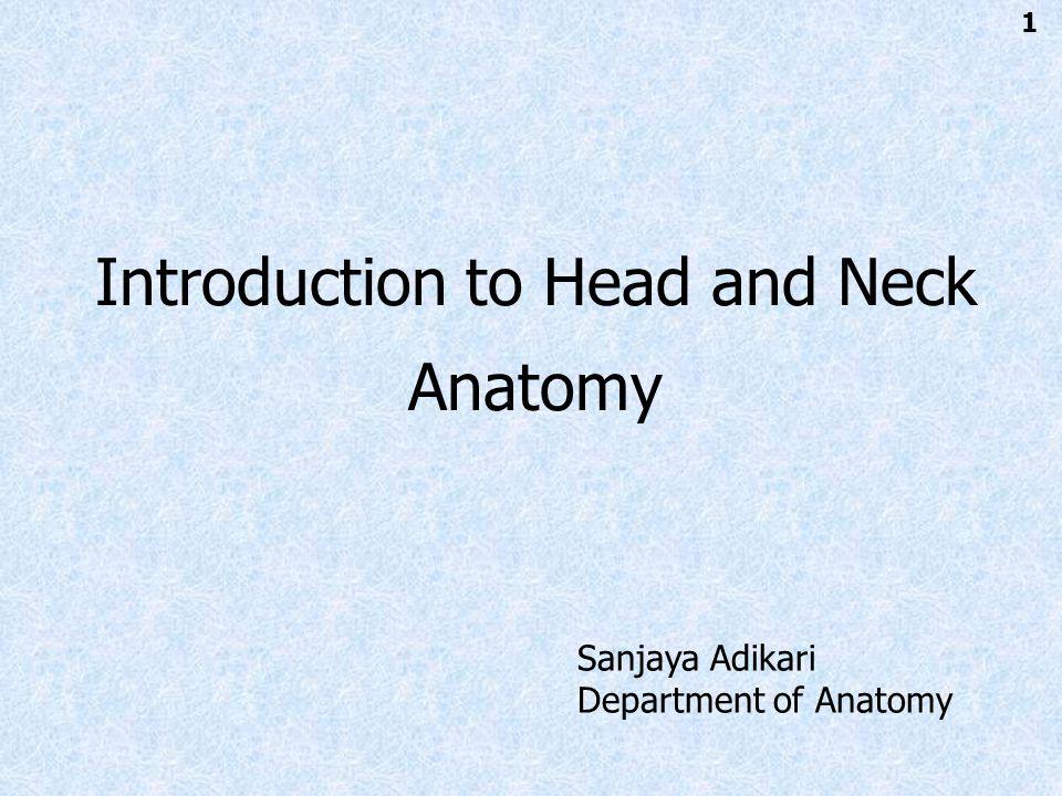 Introduction to Head and Neck Anatomy Sanjaya Adikari Department of Anatomy 1