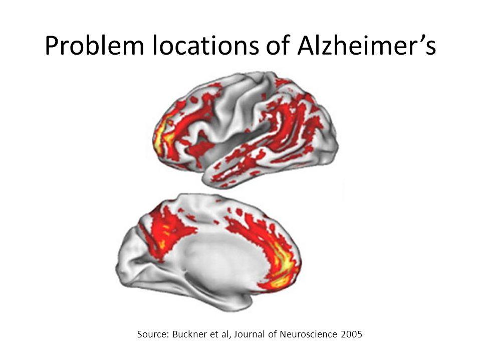 Problem locations of Alzheimer's Source: Buckner et al, Journal of Neuroscience 2005