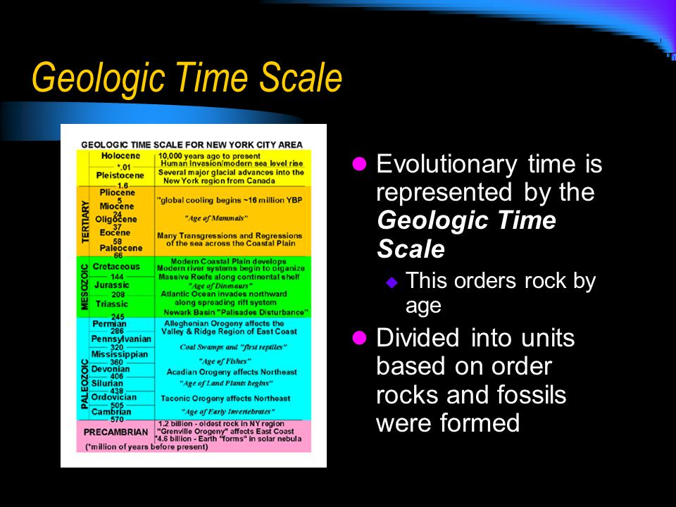 Geologic Time Scale Evolutionary time is represented by the Geologic Time Scale  This orders rock by age Divided into units based on order rocks and