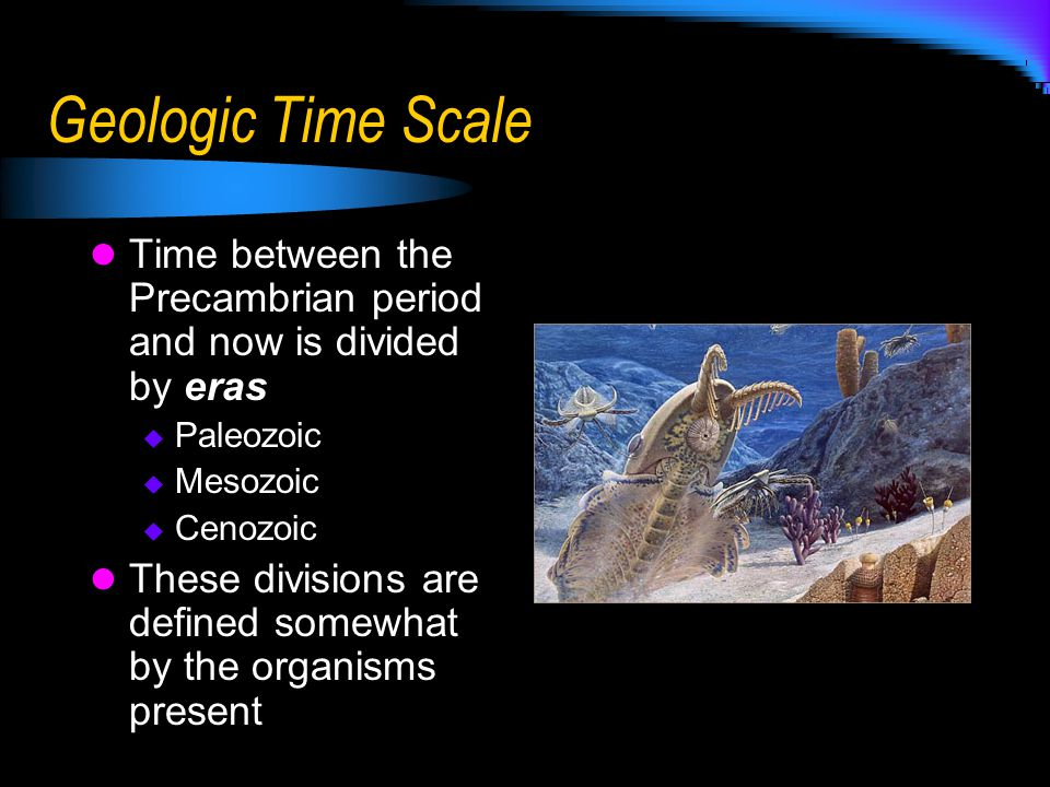 Geologic Time Scale To further define time, eras are divided into periods The Cambrian period is important to biology due to the huge explosion of organisms Epochs  Smallest unit of time; several million years