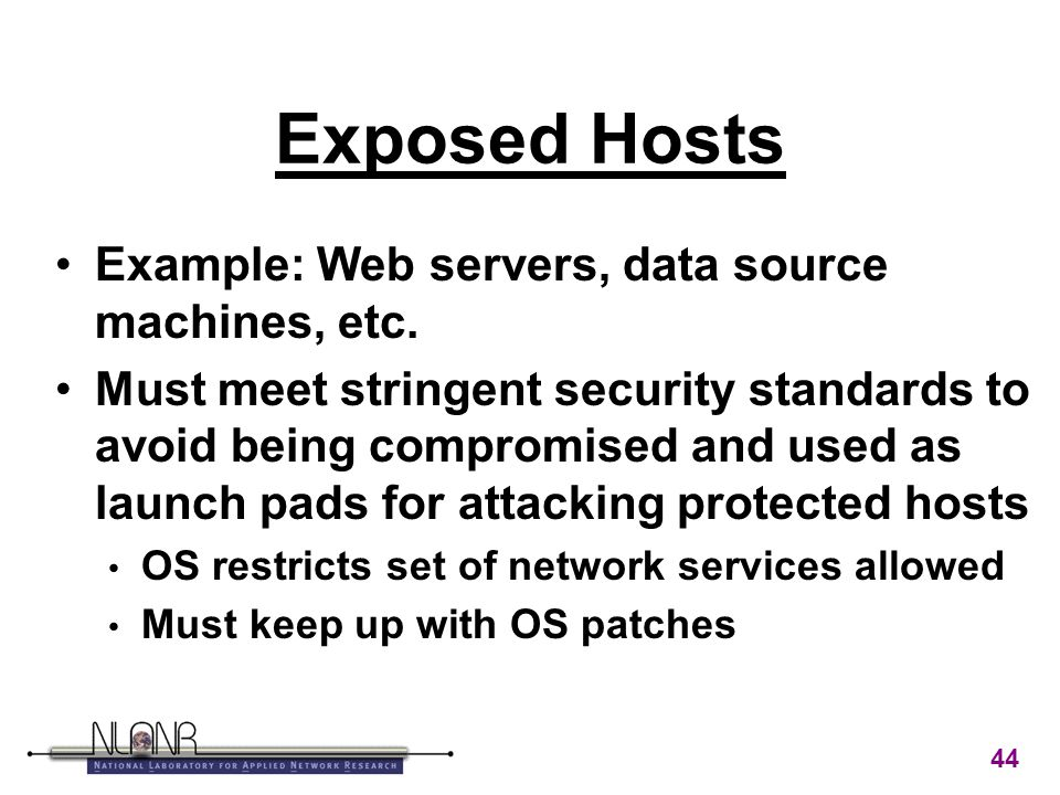 44 Exposed Hosts Example: Web servers, data source machines, etc.