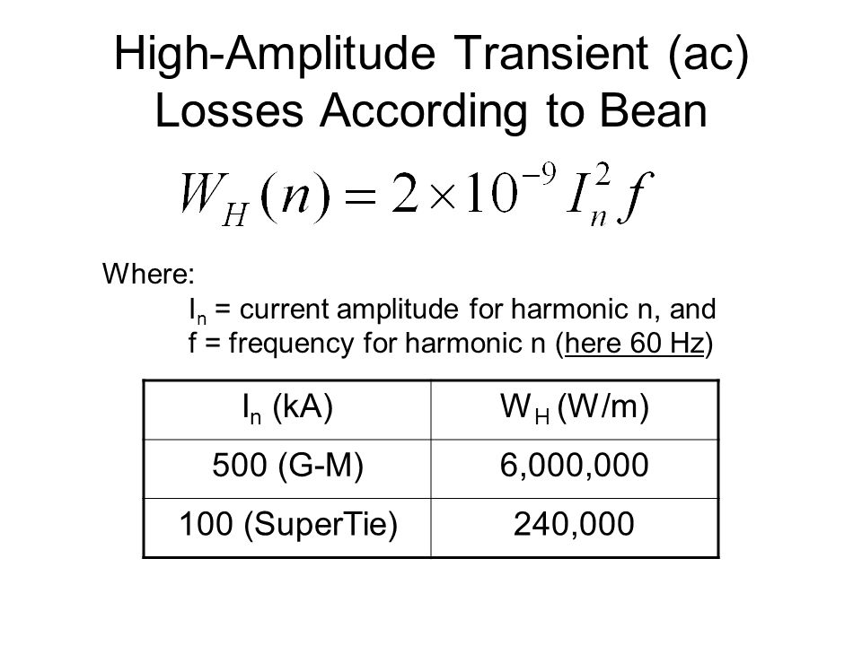 High-Amplitude Transient (ac) Losses According to Bean Where: I n = current amplitude for harmonic n, and f = frequency for harmonic n (here 60 Hz) I n (kA)W H (W/m) 500 (G-M)6,000,000 100 (SuperTie)240,000