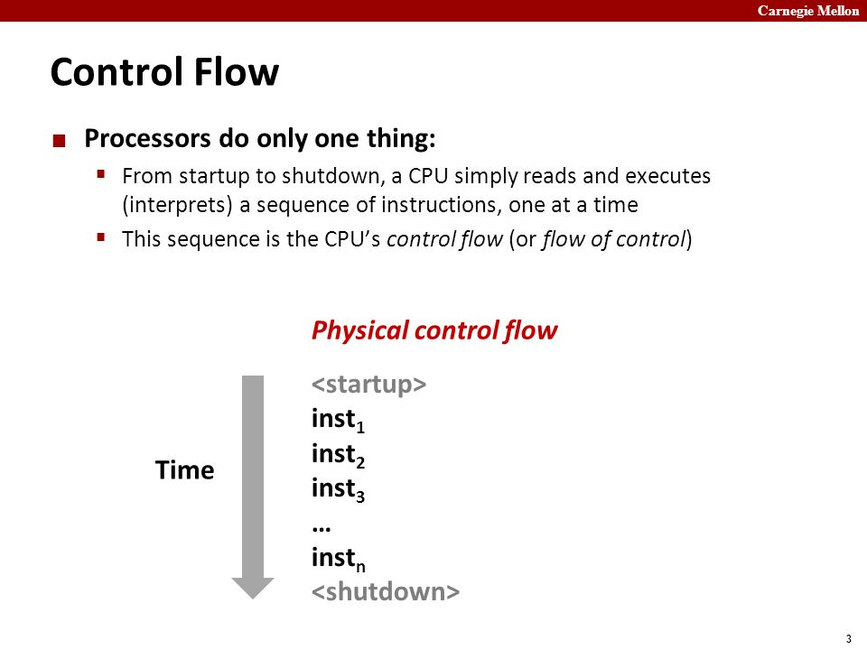 Carnegie Mellon 3 Control Flow inst 1 inst 2 inst 3 … inst n Processors do only one thing:  From startup to shutdown, a CPU simply reads and executes (interprets) a sequence of instructions, one at a time  This sequence is the CPU's control flow (or flow of control) Physical control flow Time