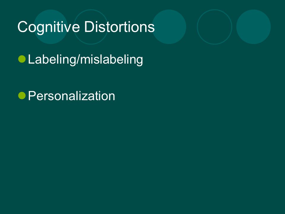 Cognitive Distortions Labeling/mislabeling Personalization