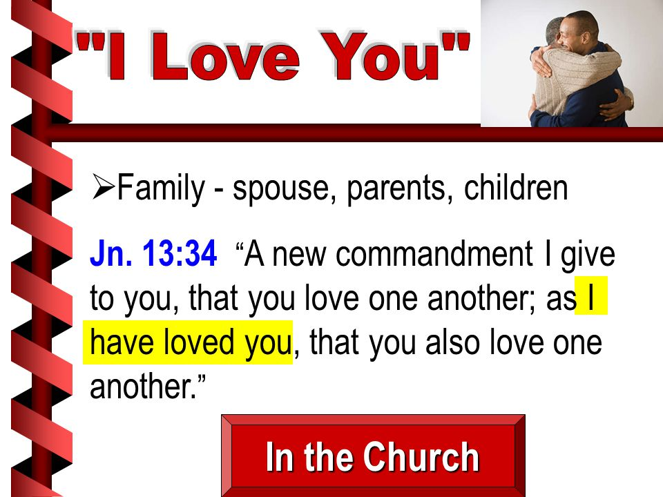 " Family - spouse, parents, children Jn. 13:34 "" A new commandment I give to you, that you love one another; as I have loved you, that you also love o"