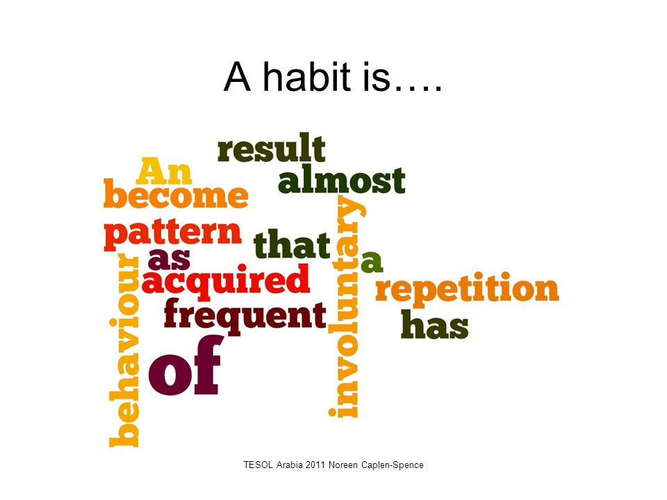 A habit is…. TESOL Arabia 2011 Noreen Caplen-Spence