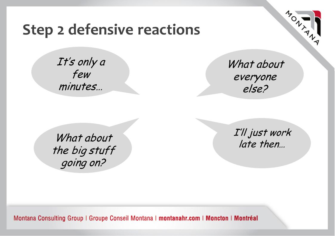 Step 2 defensive reactions What about everyone else.