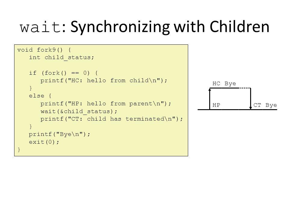 wait : Synchronizing with Children void fork9() { int child_status; if (fork() == 0) { printf(