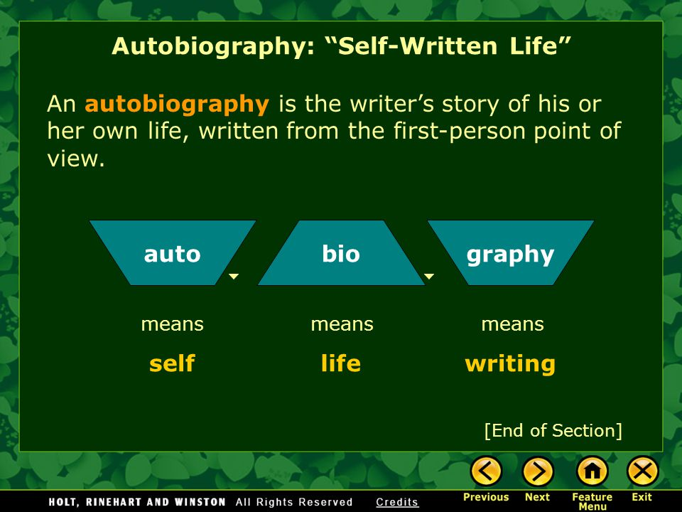 "Nonfiction is writing based on fact—""not fiction."" Autobiography is the most personal kind of nonfiction. Autobiography: ""Self-Written Life"" When you"
