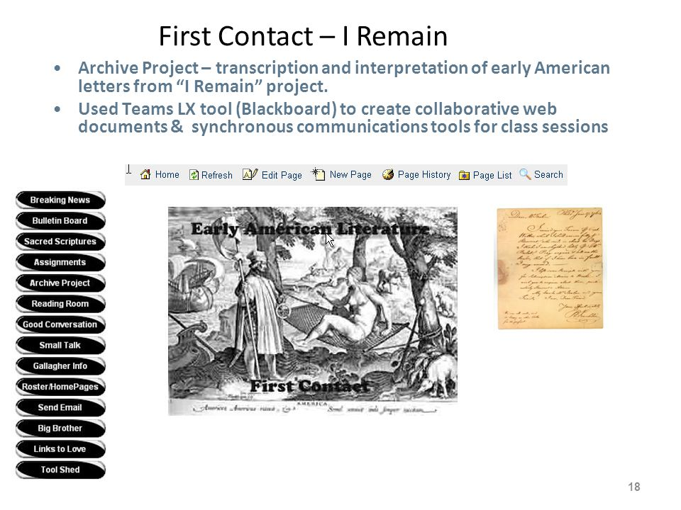 "First Contact – I Remain 18 Archive Project – transcription and interpretation of early American letters from ""I Remain"" project. Used Teams LX tool ("