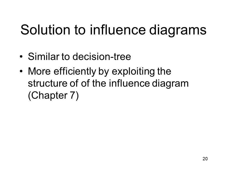 20 Solution to influence diagrams Similar to decision-tree More efficiently by exploiting the structure of of the influence diagram (Chapter 7)