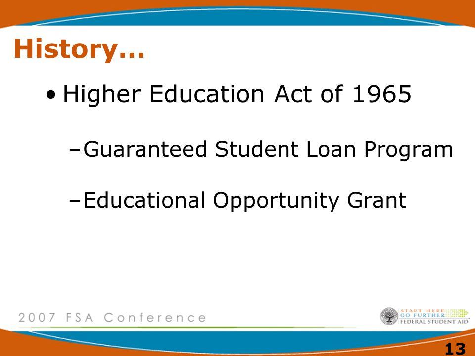 12 History… 1950's –Nat'l Defense Education Act of 1958 Nat'l Defense Student Loan Program (morphed into Perkins Loan Program)