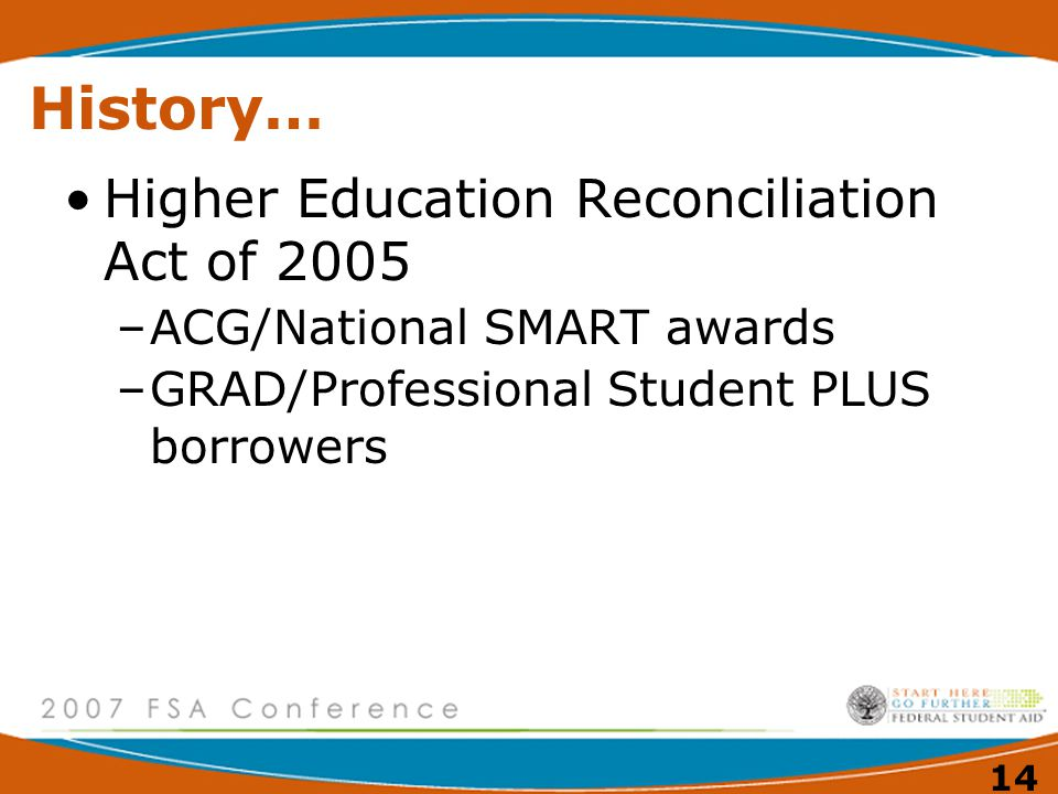 13 History… Higher Education Act of 1965 –Guaranteed Student Loan Program –Educational Opportunity Grant