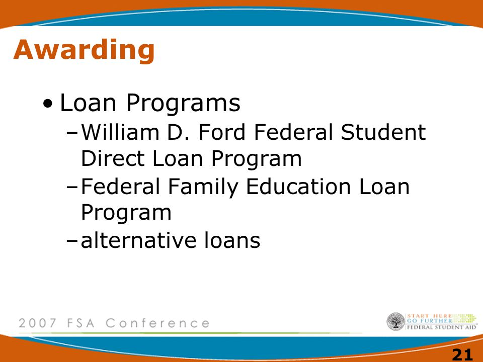 20 Awarding Campus Based Programs –FSEOG Federal Supplemental Educational Opportunity Grant –FWS Federal-Work Study Program –Perkins Loan Program