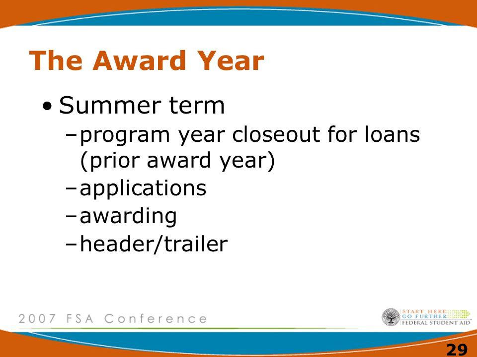 28 The Award Year July 1, 2007 – June 30, 2008 –applications –awarding