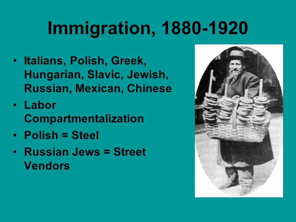 Immigration, 1880-1920 Italians, Polish, Greek, Hungarian, Slavic, Jewish, Russian, Mexican, Chinese Labor Compartmentalization Polish = Steel Russian Jews = Street Vendors