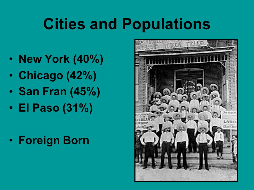 Cities and Populations New York (40%) Chicago (42%) San Fran (45%) El Paso (31%) Foreign Born