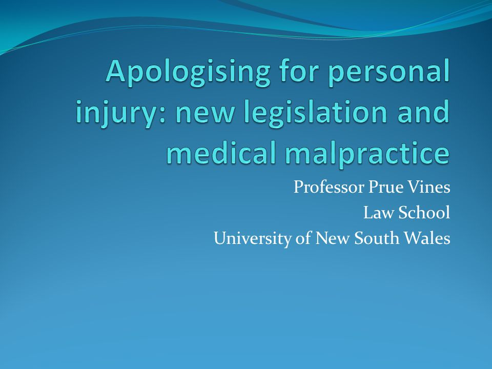 New legislation protecting apologies and expressions of regret US since 1986 Australia since 2002 Canada since 2006 UK Compensation Act 2006 (England and Wales) Vines UNSW Law School Apologising for personal injury 2