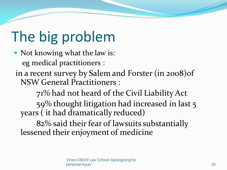 The big problem Not knowing what the law is: eg medical practitioners : in a recent survey by Salem and Forster (in 2008)of NSW General Practitioners