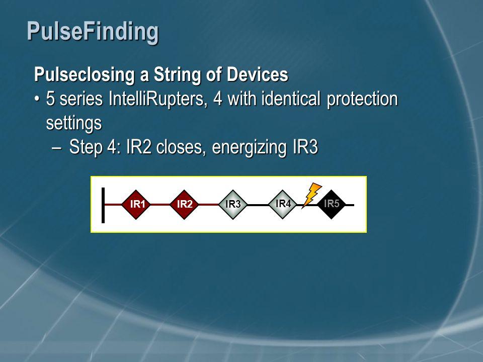 PulseFinding Pulseclosing a String of Devices 5 series IntelliRupters, 4 with identical protection settings5 series IntelliRupters, 4 with identical protection settings –Step 4: IR2 closes, energizing IR3 IR1IR3 IR2 IR4 IR5