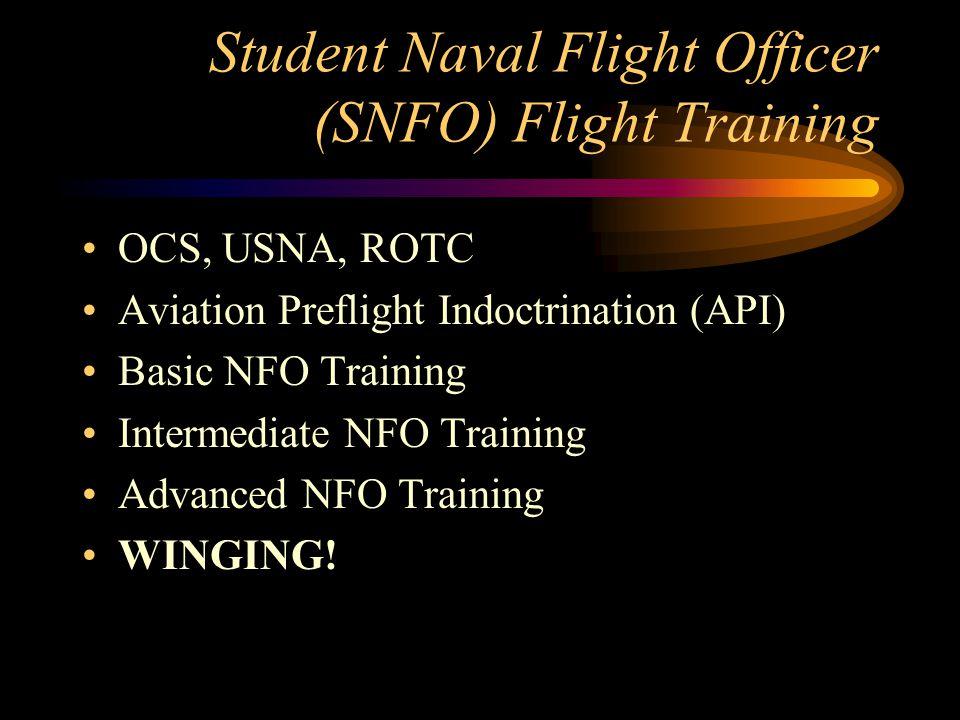 Student Naval Flight Officer (SNFO) Flight Training OCS, USNA, ROTC Aviation Preflight Indoctrination (API) Basic NFO Training Intermediate NFO Traini