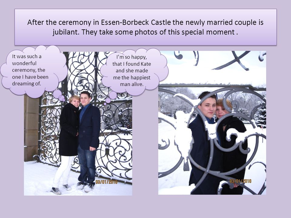 After the ceremony in Essen-Borbeck Castle the newly married couple is jubilant.
