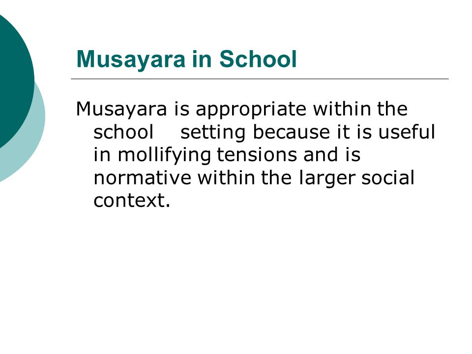 Musayara in School Musayara is appropriate within the school setting because it is useful in mollifying tensions and is normative within the larger social context.