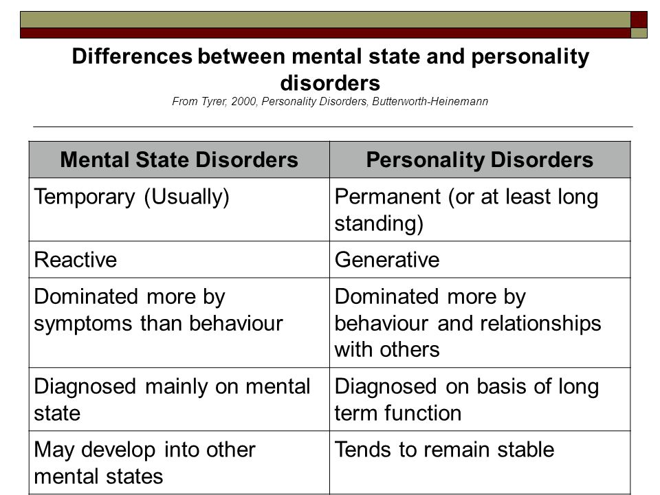 13 Differences between mental state and personality disorders From Tyrer, 2000, Personality Disorders, Butterworth-Heinemann Mental State DisordersPer