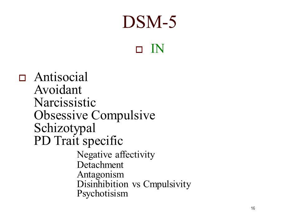 16 DSM-5  IN  Antisocial Avoidant Narcissistic Obsessive Compulsive Schizotypal PD Trait specific Negative affectivity Detachment Antagonism Disinhi