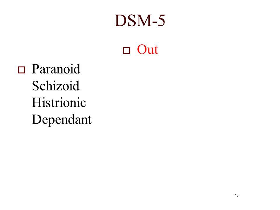 17 DSM-5  Out  Paranoid Schizoid Histrionic Dependant
