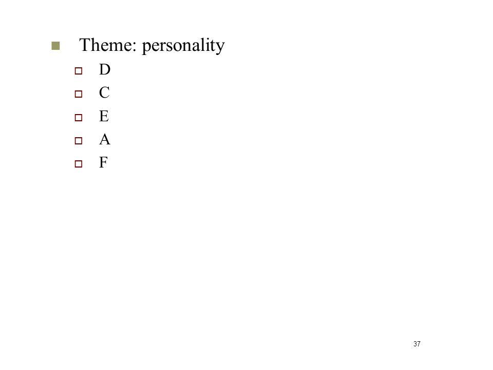 37 Theme: personality  D  C  E  A  F