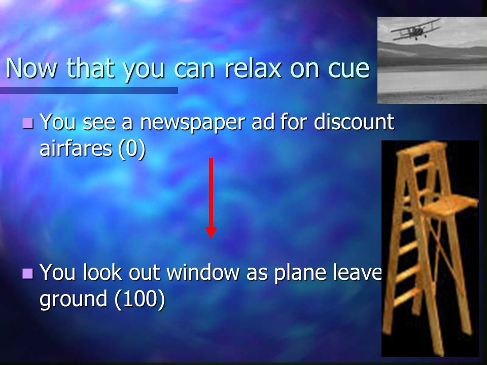 Now that you can relax on cue You see a newspaper ad for discount airfares (0) You see a newspaper ad for discount airfares (0) You look out window as plane leaves ground (100) You look out window as plane leaves ground (100)