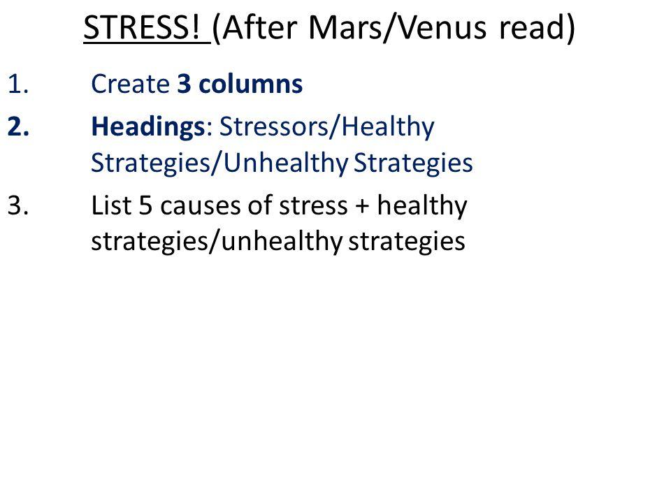 STRESS! (After Mars/Venus read) 1.Create 3 columns 2.Headings: Stressors/Healthy Strategies/Unhealthy Strategies 3.List 5 causes of stress + healthy s