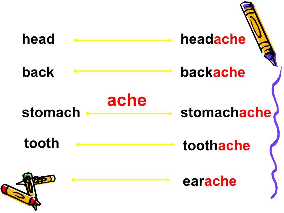 ache headheadache backbackache stomachstomachache tooth ear toothache earache