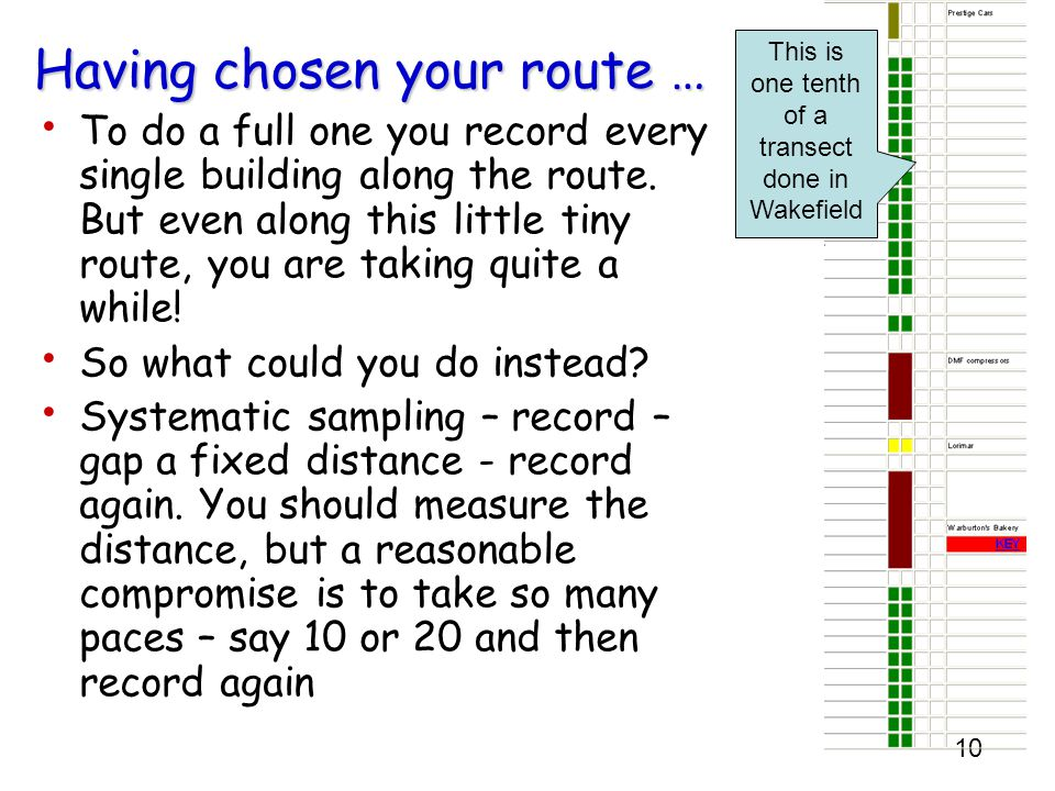 10 Having chosen your route … To do a full one you record every single building along the route.