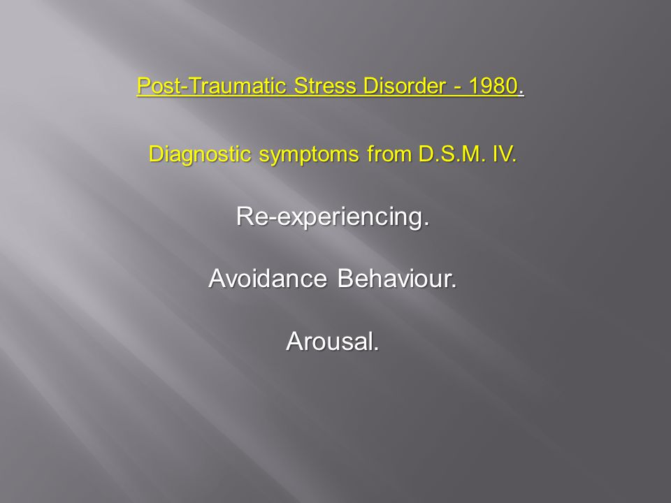 Post-Traumatic Stress Disorder - 1980. Diagnostic symptoms from D.S.M.