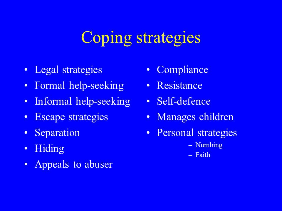 Coping strategies Legal strategies Formal help-seeking Informal help-seeking Escape strategies Separation Hiding Appeals to abuser Compliance Resistan
