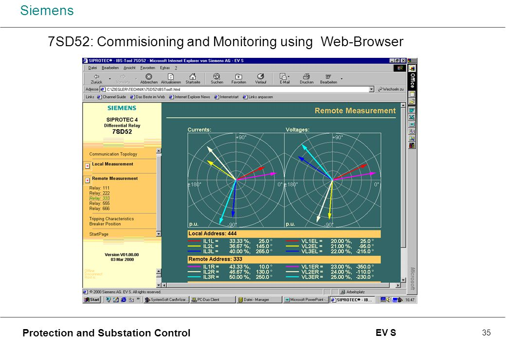 Siemens Protection and Substation Control EV S 35 7SD52: Commisioning and Monitoring using Web-Browser